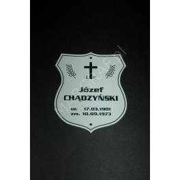 Tabliczka nagrobna z laminatu (pcv), grawerowana laserem