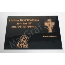 Tabliczka nagrobna z plexi grawerowana, pokryta srebrną lub złotą farbą