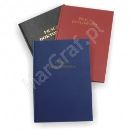 Oprawa dyplomowa, klejona na gorąco, twarda do 200 kartek A4 z napisami złoconymi