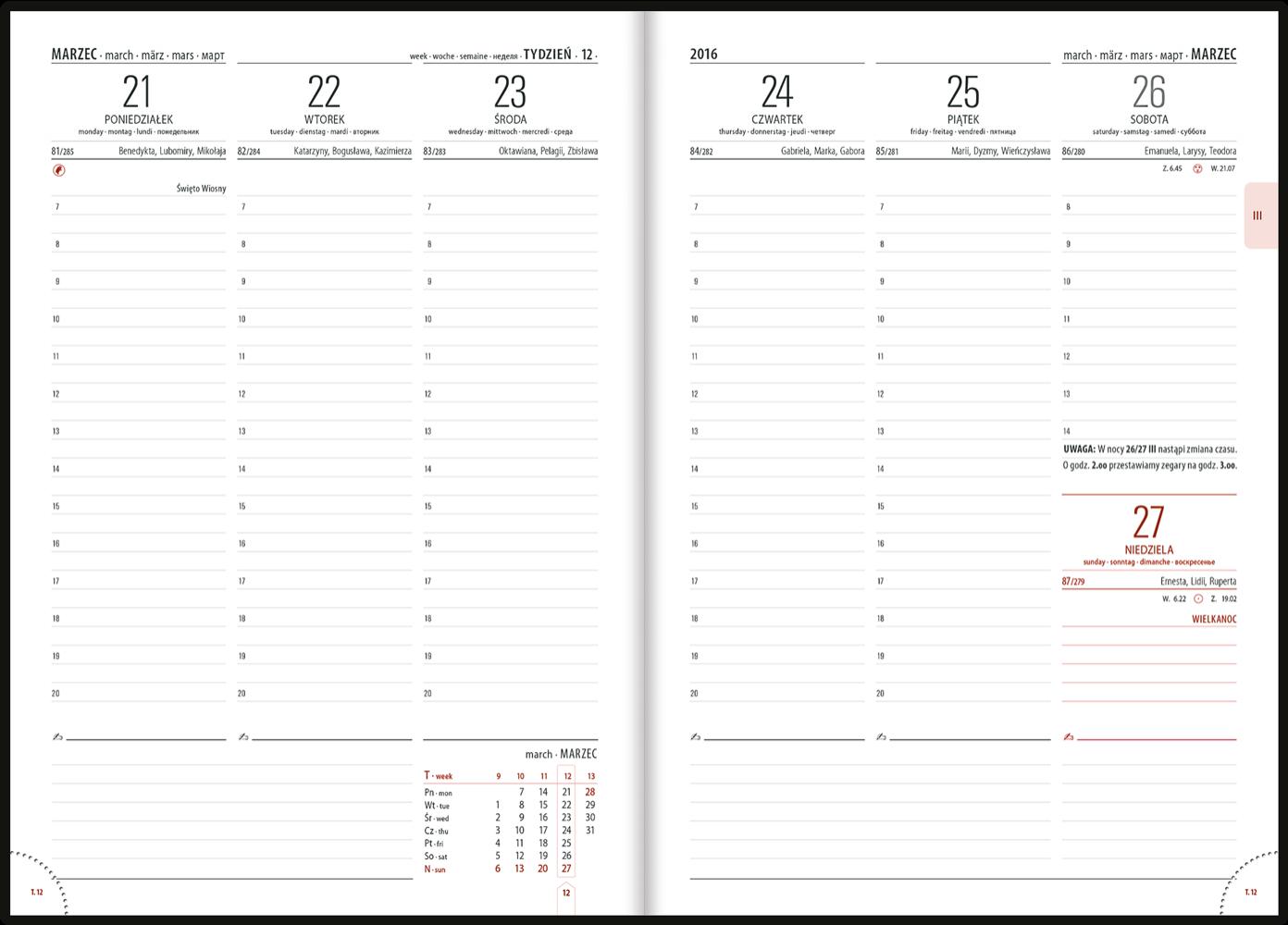 TC2 Kalendarz książkowy B5 classic skóra naturalna
