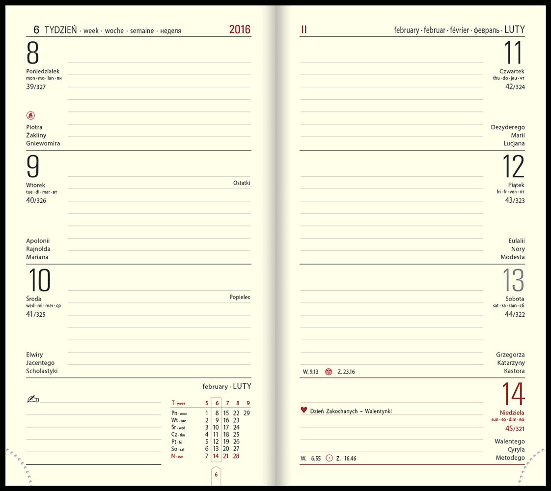 TC5 Kalendarz książkowy notesowy skóra naturalna