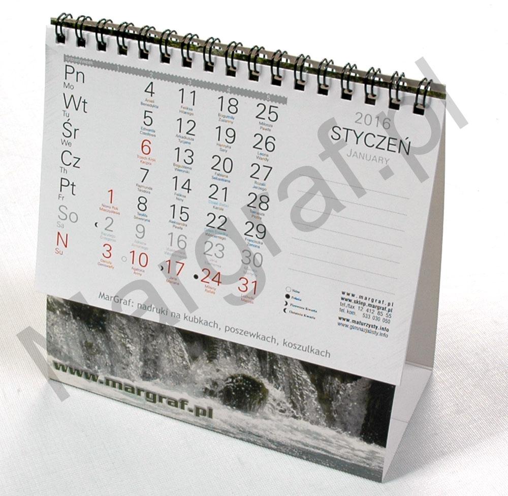 Kalendarz daszkowy jednodzielny - indywidualna spiralowana piramidka