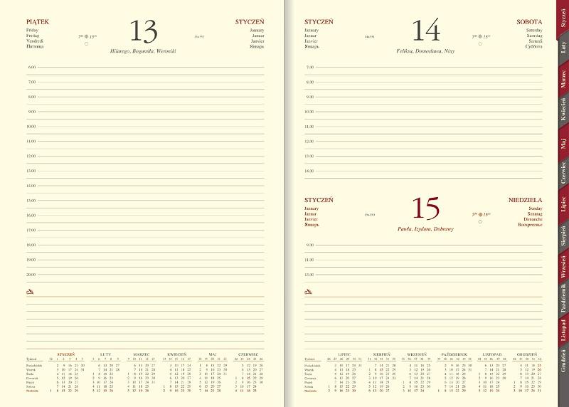 WN1234RS Kalendarz B5, układ dzienny z registrami, skóra naturalna