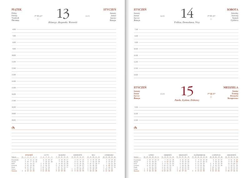 WN1220 Kalendarz B5, układ dzienny, VIVELLA