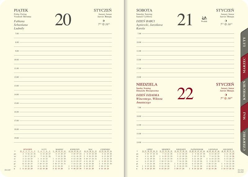 WN1216RS Kalendarz A5 dzienny z registrami, skóra naturalna