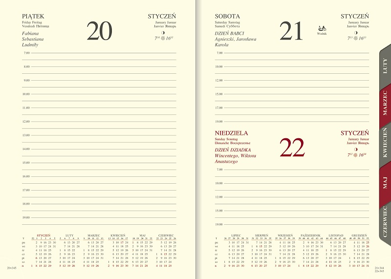 WN1205R Kalendarz A5, dzienny z registrami VIVELLA