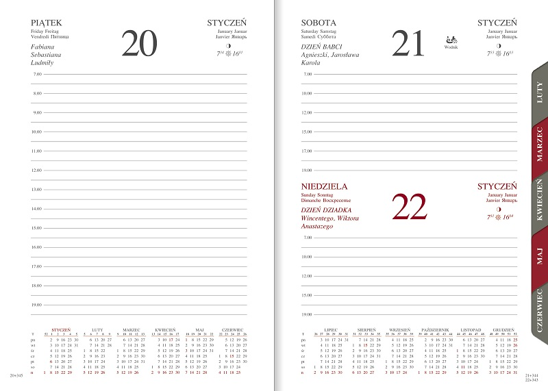 WN1213R Kalendarz A5 dzienny z registrami, zamykany na magnes