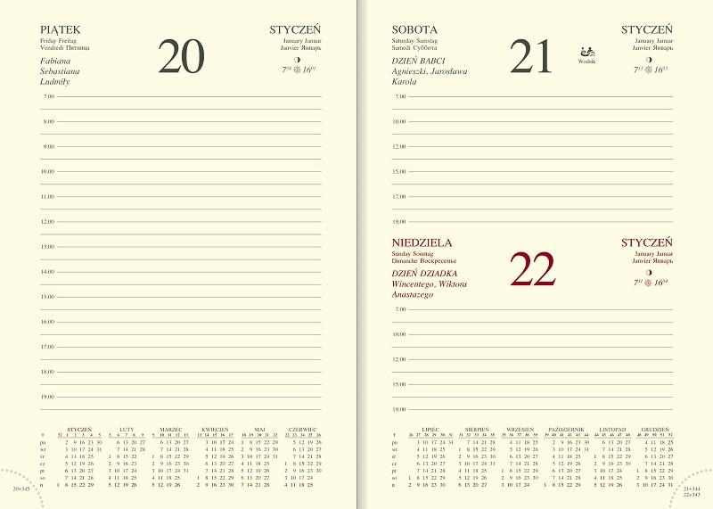 WN1221 Kalendarz B6, układ dzienny, VIVELLA