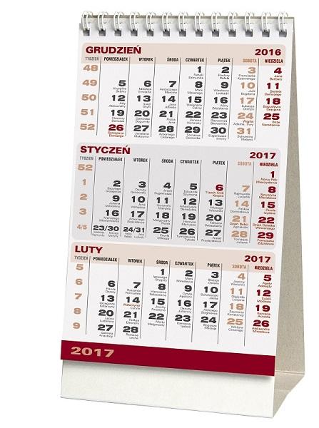 WN1238 Kalendarz stojący trójdzielny, biurkowy.