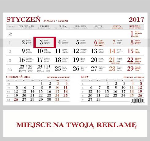 WN1256BG Kalendarz jednodzielny bez główki
