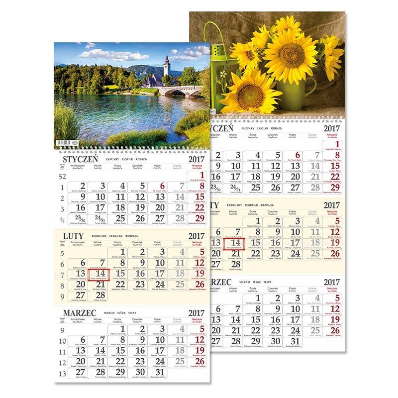 SSB7 Kalendarz trójdzielny jednoplanszowy