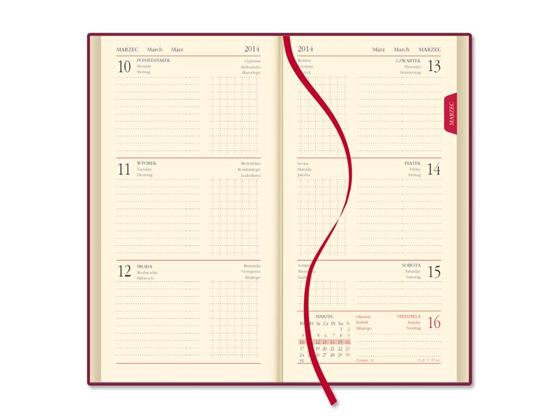 SSK4-1 Kalendarz mini terminarz skóra naturalna