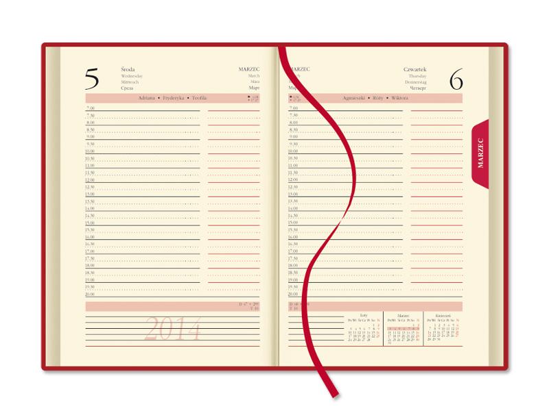SSK3 Kalendarz książkowy B6, układ dzienny, skóra naturalna