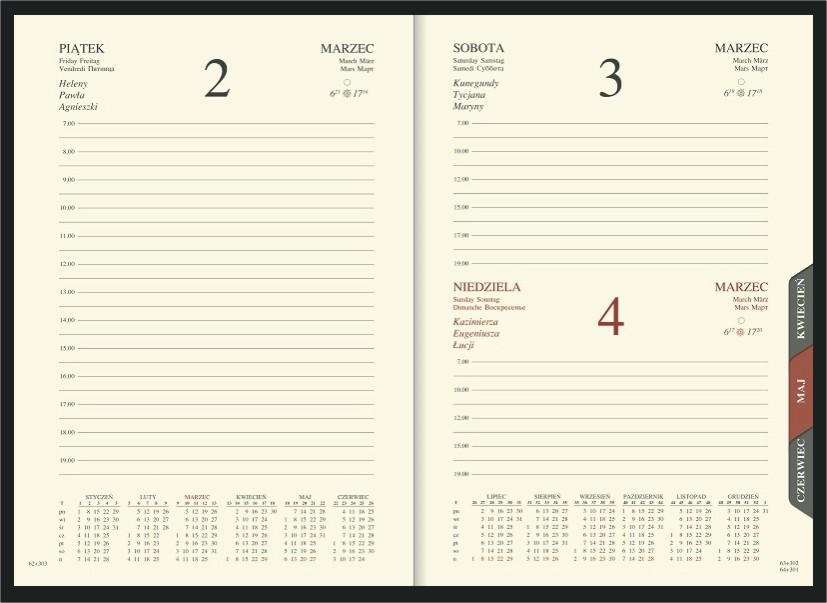 WN1206R Kalendarz A5, dzienny z registrami, przeszywany