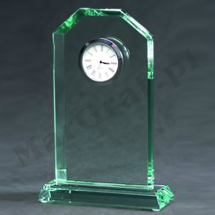 Trofeum szklane z zegarem nr G029.
