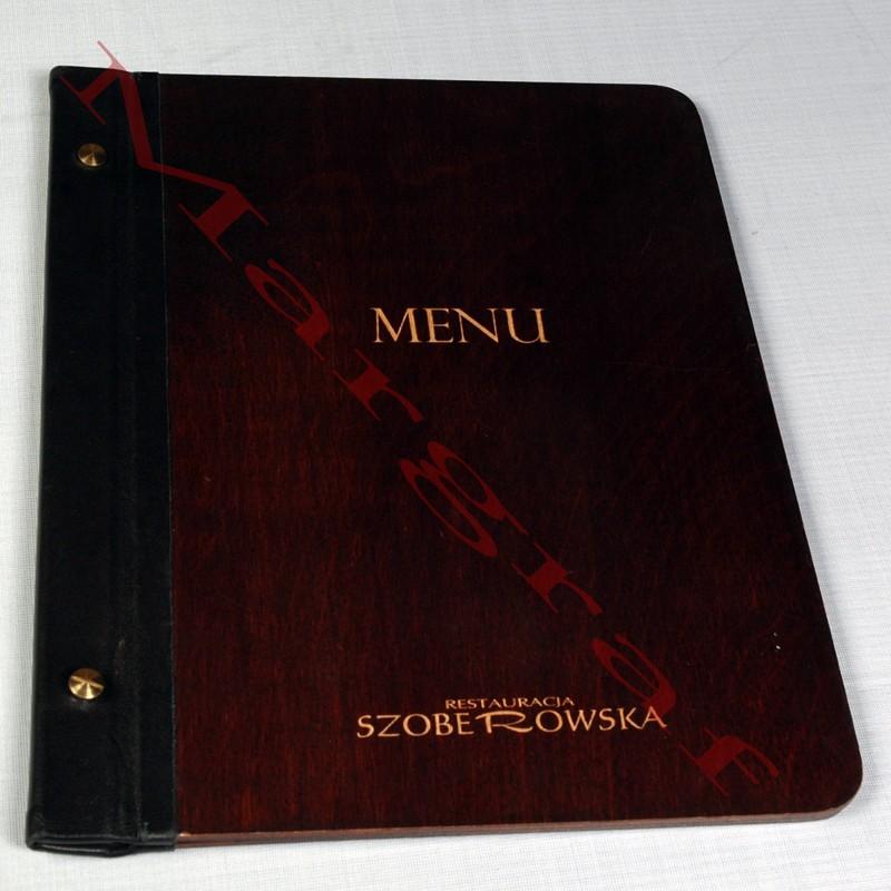 Ekskluzywna, drewniana okładka menu.