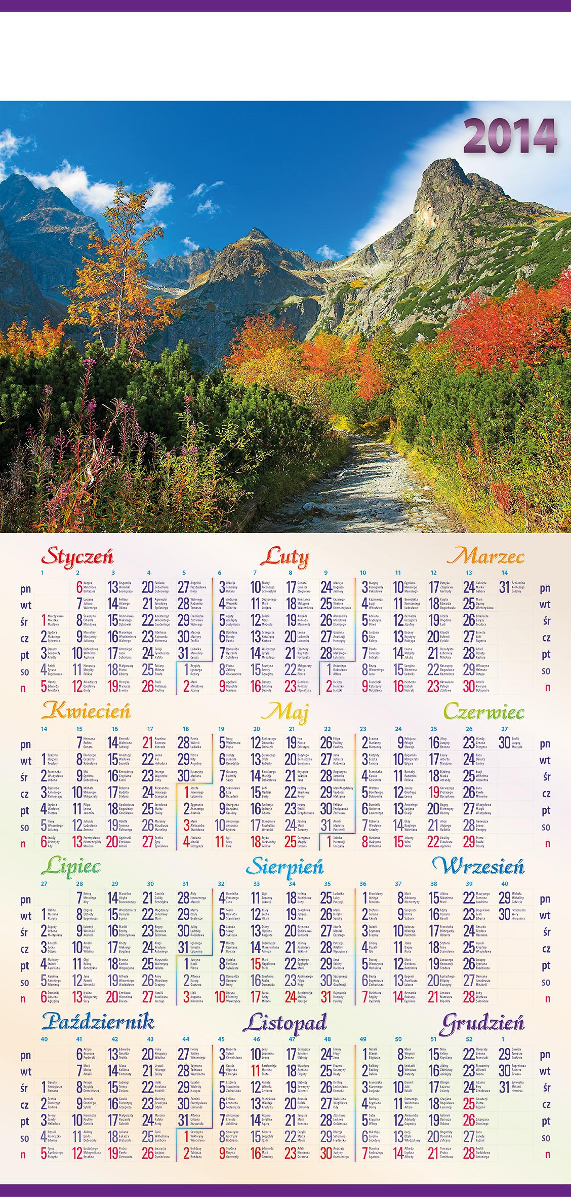 TP1 do TP22 Kalendarz ścienny, plakatowy B-1