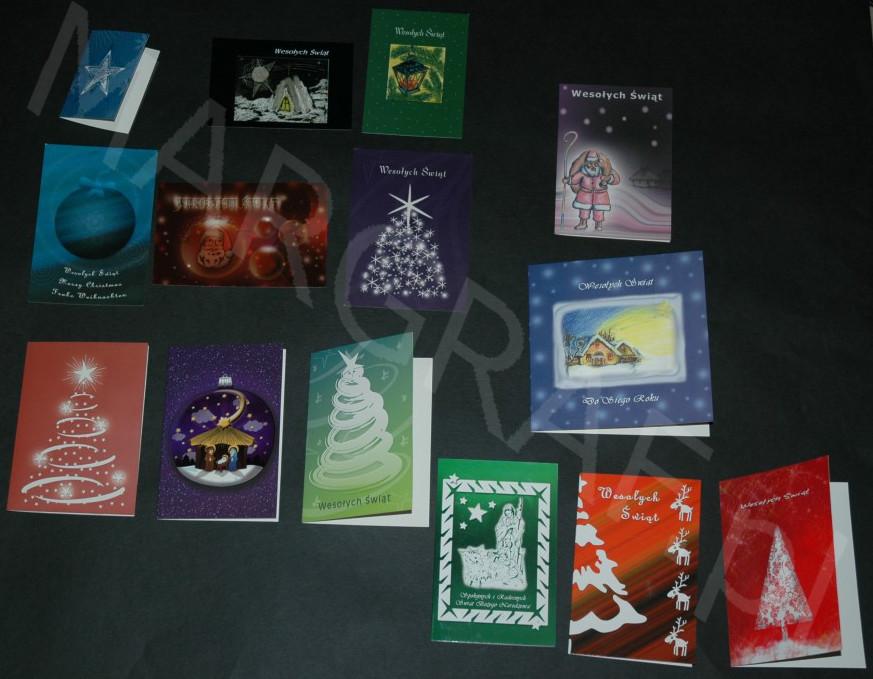 Kartka świąteczna z wdrukowanymi życzeniami, rozkładana