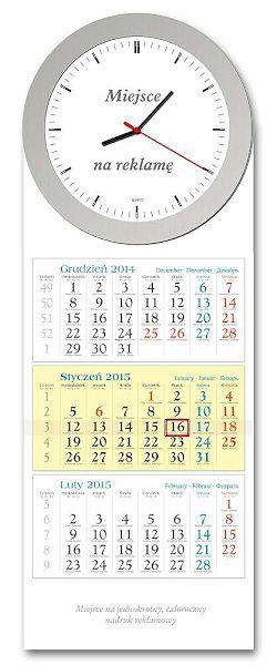 LZE1-LZE2 KT  Rondo, Elipsa,  Kalendarz zegar 2015,ścienny,trójdzielny