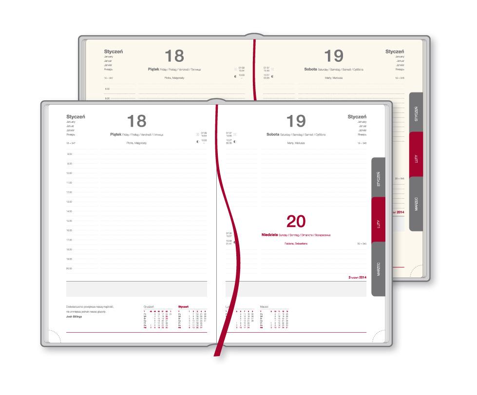 Sc_Kd Kalendarz książkowy A5 dzienny - różne opcje