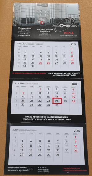 D3d Kalendarz 3-dzielny standard, autorski - opcje