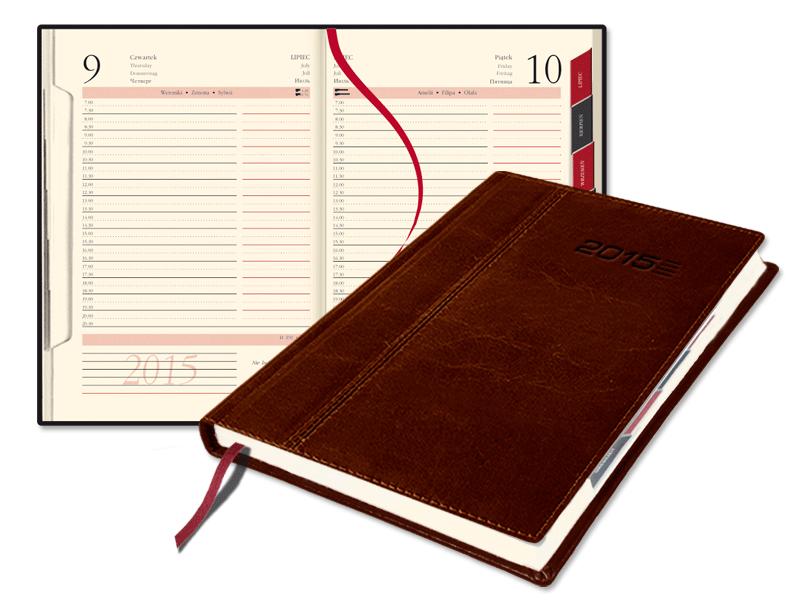 SSK1-1 Kalendarz A5 dzienny z registrami, skóra naturalna