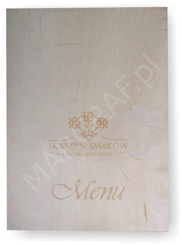 Okładka  menu, drewniana z połączeniem w naturalną skórę grawerowana laserem 1-10 szt.