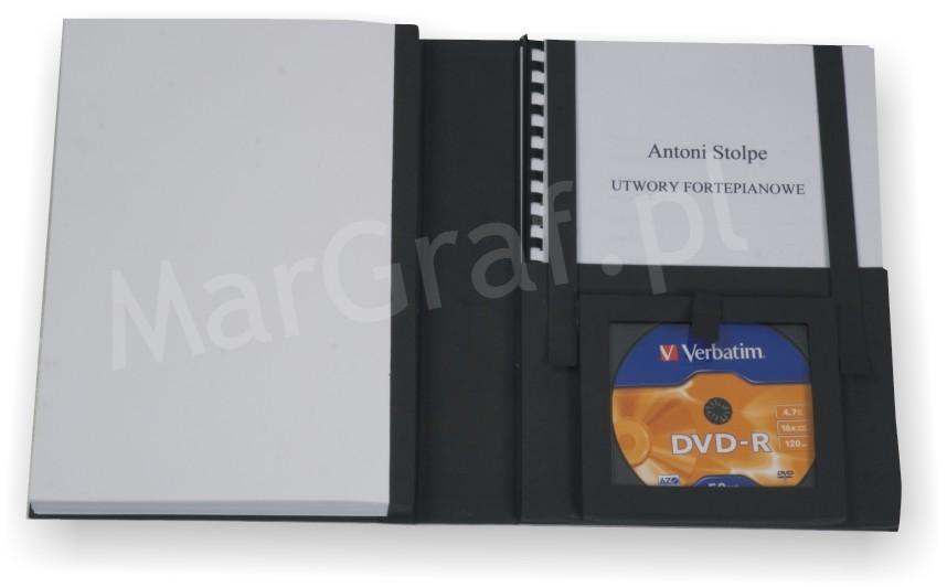 Oprawa albumowa (np. prace dyplomowe, doktorskie) z kieszenią na dokumenty i płytę CD