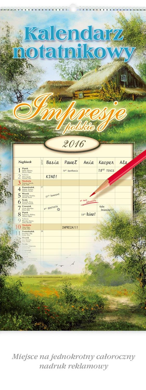 LWN1-LWN2  Kalendarz notatnikowy, ścienny z możliwością przekładania kart
