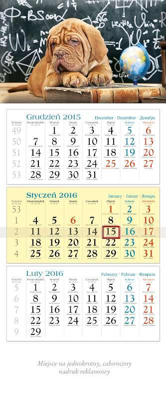 LKT1-LKT21 Kalendarz trójdzielny, ścienny, wiszący
