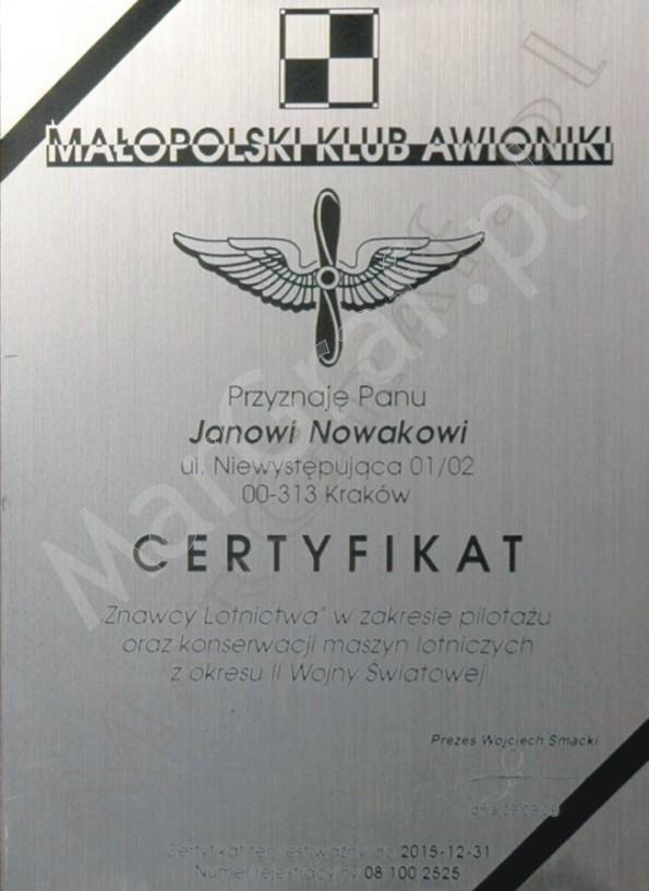 Dyplom A4 grawerowany w laminacie