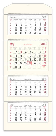 TCT0 Kalendarz czterodzielny bez główki