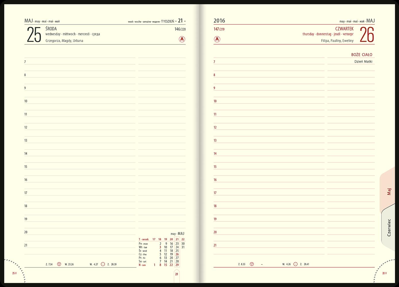TL3 Kalendarz książkowy A5 lux skóra naturalna