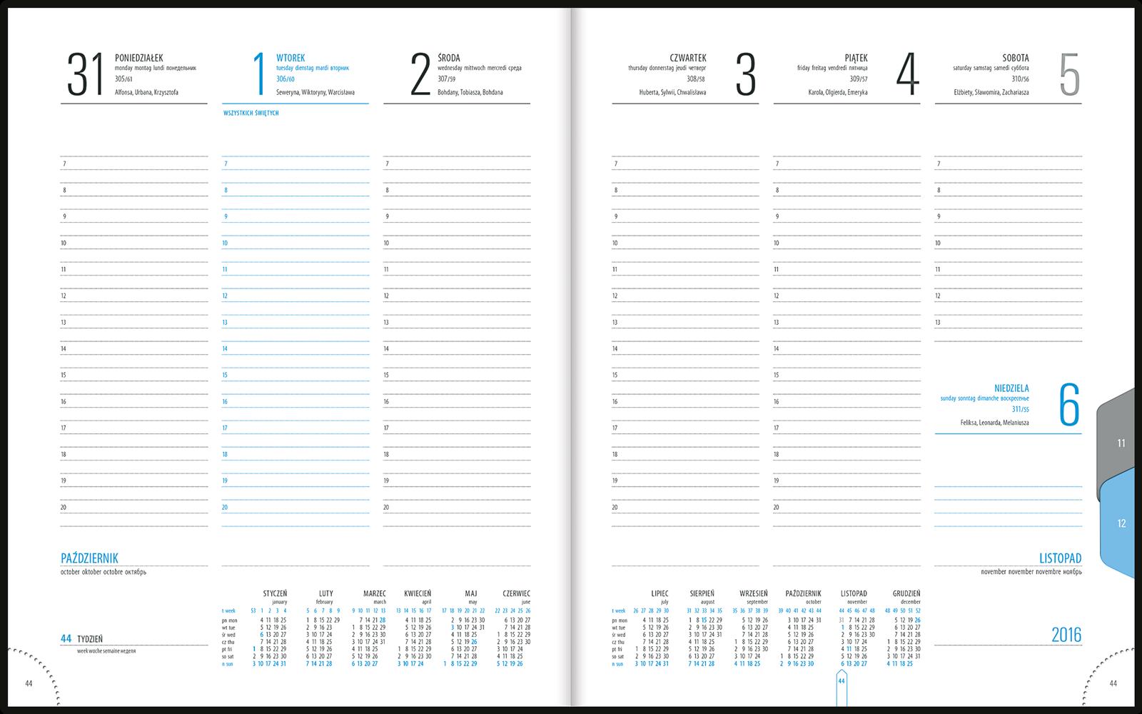 TU2 Kalendarz książkowy B5 plus skóra naturalna